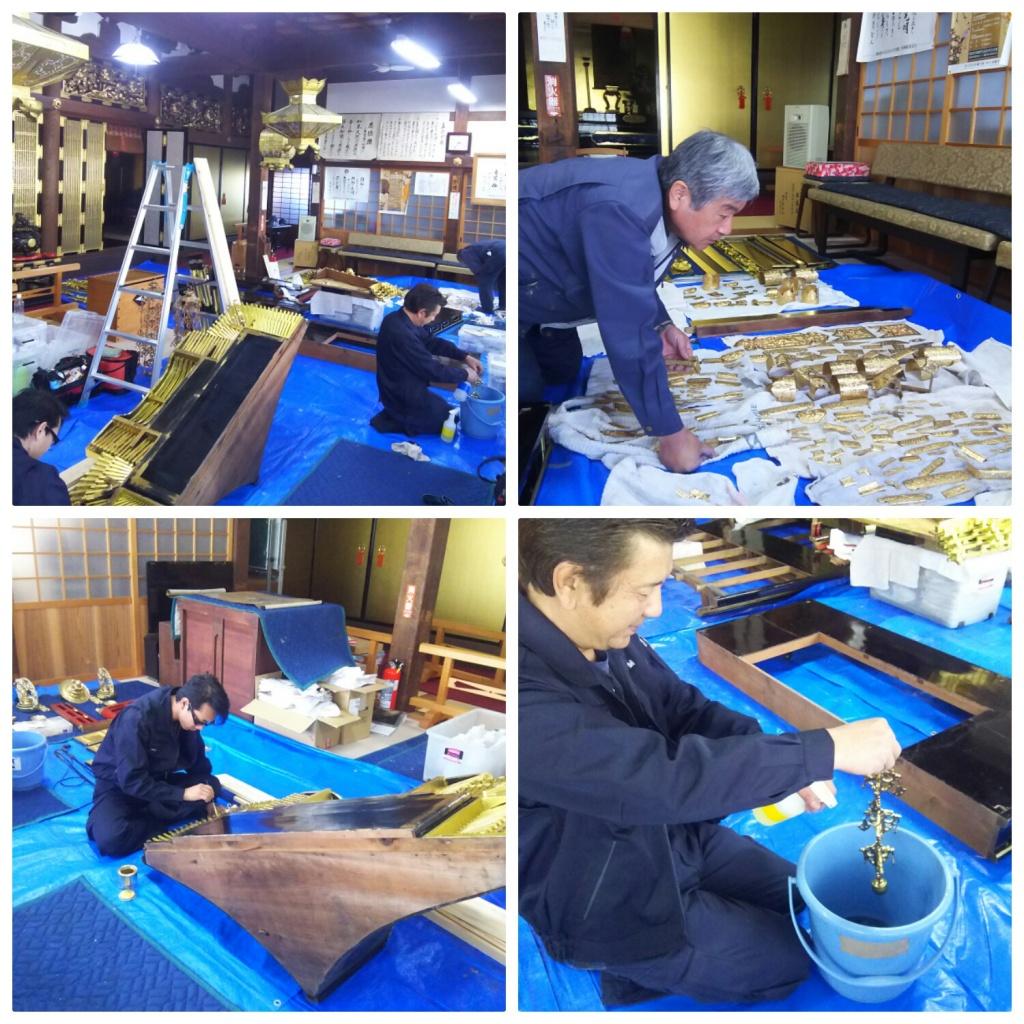塗り箔、彩色、金紙貼りから、天井工事、寺院仏具制作など、職人の確かな技術で長年にわたり寺院様の大切な工事を承らせていただいております。