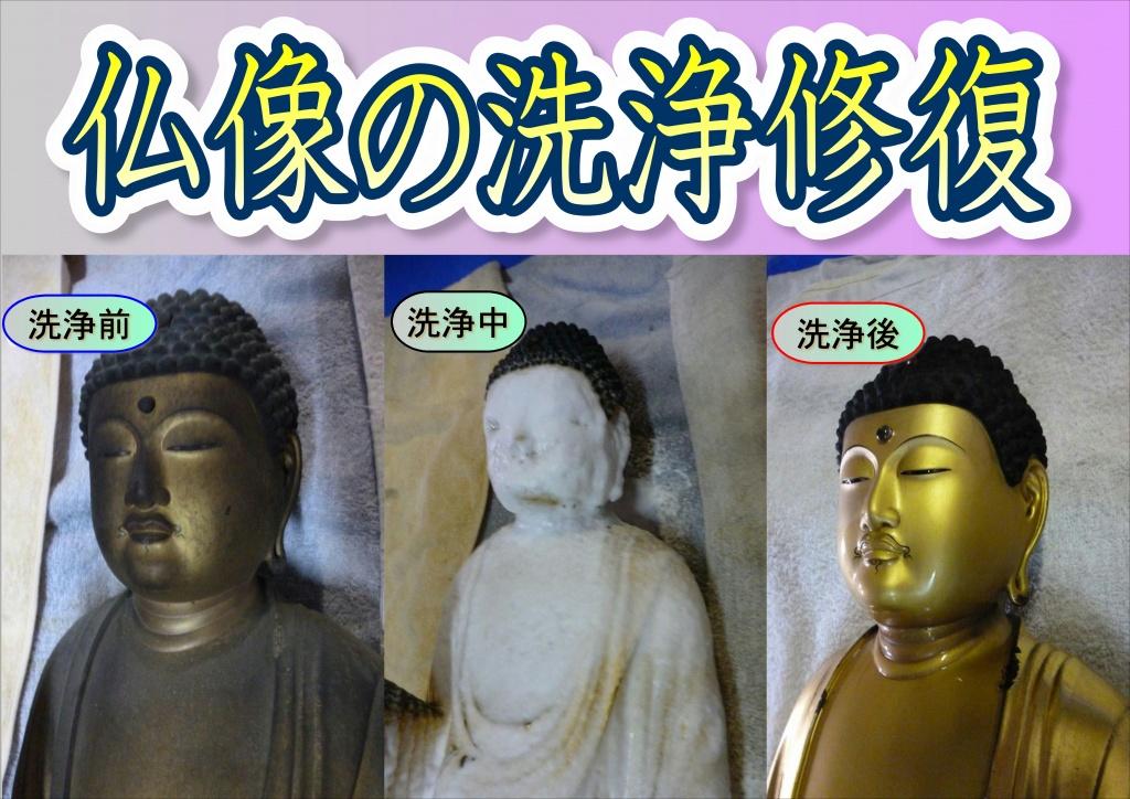 仏像の洗浄修復、長年の経年劣化した山号額の修復をいたしました。 漆部分を塗り直し、文字を金箔にして仕上げしました。一部腕が無くなっているような仏像も完全修復することができます。全国から数多くご依頼を頂いております。 補筆仕上げいたしました。